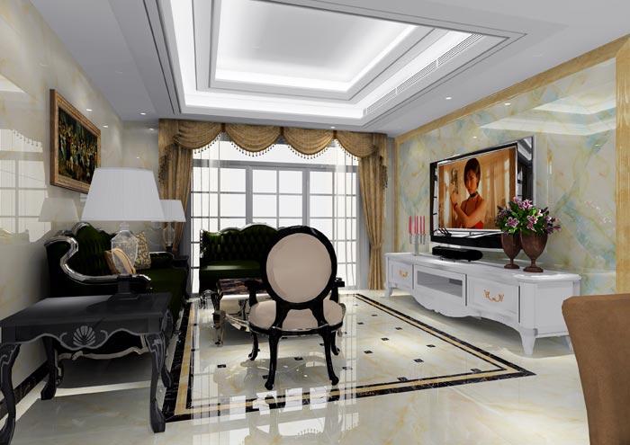 客厅的双层吊顶,足以展示了欧式浪漫与特点;电视背景墙用翡翠玉装饰