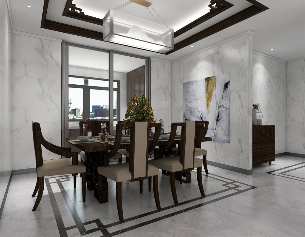 新中式餐厅地面主砖 缎光釉kfd880 地面拼花缎光釉kfd8806 墙面缎光釉