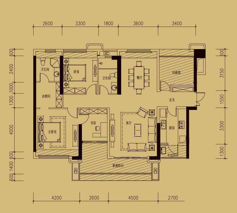 依云天汇b01户型 3室面积155.00平米